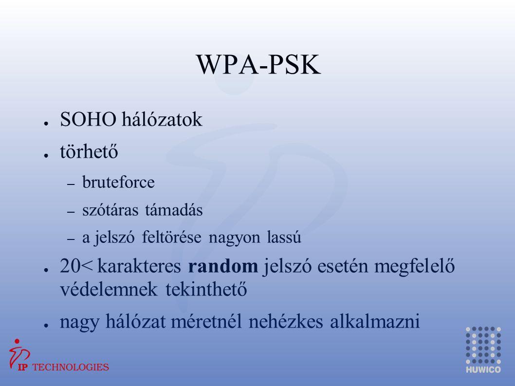 WPA-PSK ● SOHO hálózatok ● törhető – bruteforce – szótáras támadás – a jelszó feltörése nagyon lassú ● 20< karakteres random jelszó esetén megfelelő v