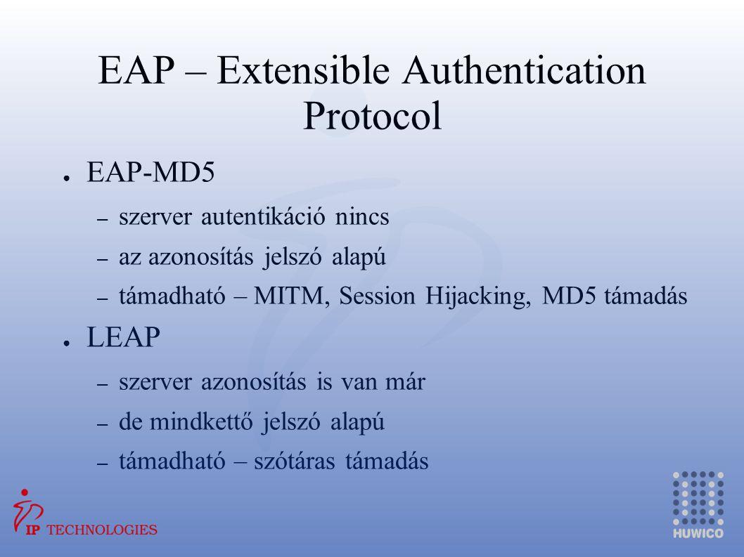 EAP – Extensible Authentication Protocol ● EAP-MD5 – szerver autentikáció nincs – az azonosítás jelszó alapú – támadható – MITM, Session Hijacking, MD