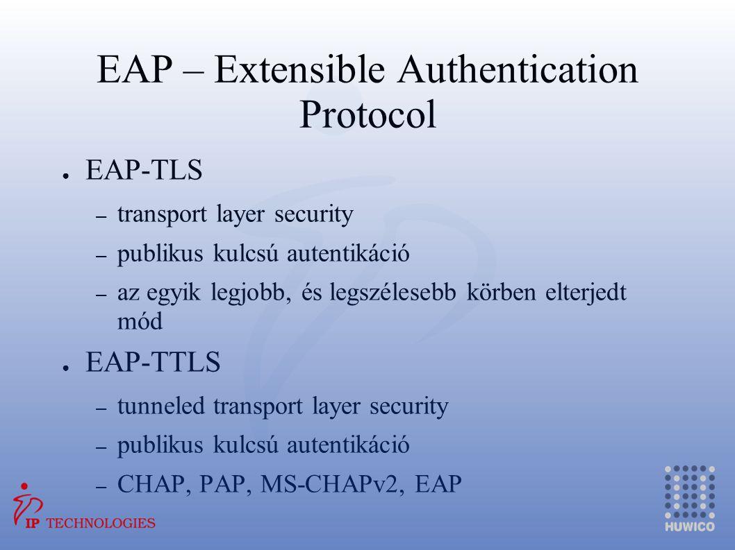 EAP – Extensible Authentication Protocol ● EAP-TLS – transport layer security – publikus kulcsú autentikáció – az egyik legjobb, és legszélesebb körbe
