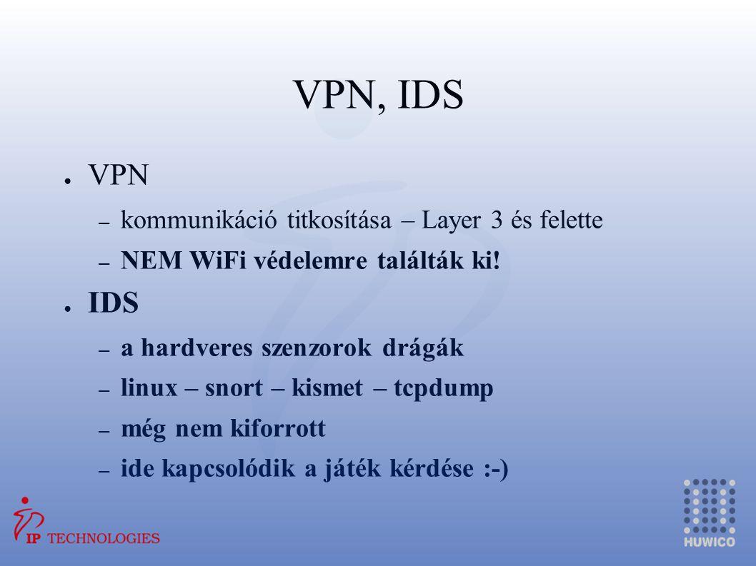 VPN, IDS ● VPN – kommunikáció titkosítása – Layer 3 és felette – NEM WiFi védelemre találták ki! ● IDS – a hardveres szenzorok drágák – linux – snort