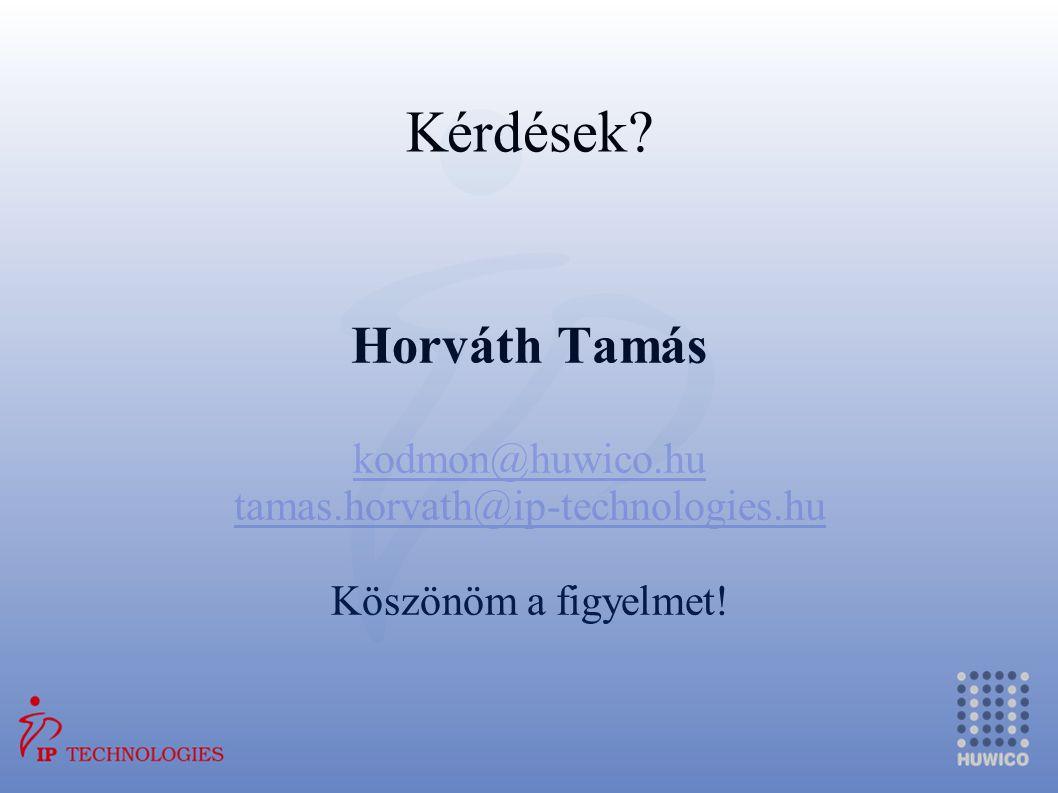 Kérdések? Horváth Tamás kodmon@huwico.hu tamas.horvath@ip-technologies.hu Köszönöm a figyelmet!