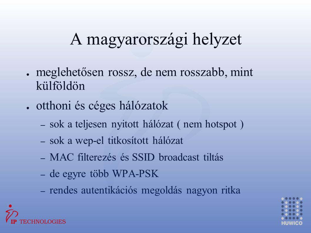 A magyarországi helyzet ● meglehetősen rossz, de nem rosszabb, mint külföldön ● otthoni és céges hálózatok – sok a teljesen nyitott hálózat ( nem hots