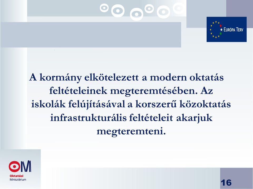 16 A kormány elkötelezett a modern oktatás feltételeinek megteremtésében.