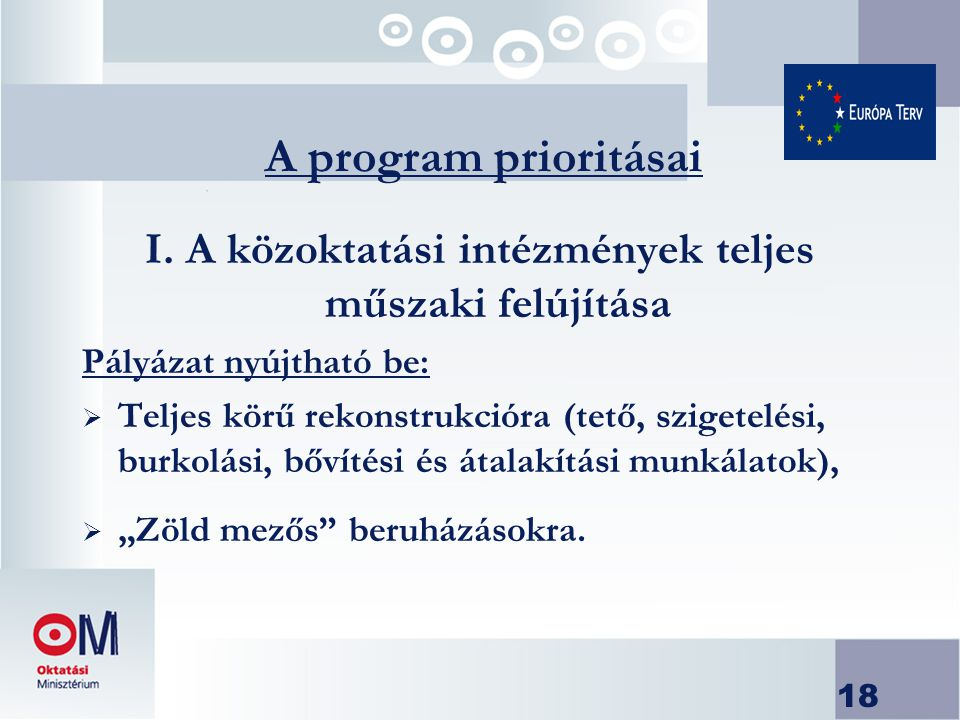 18 A program prioritásai I.