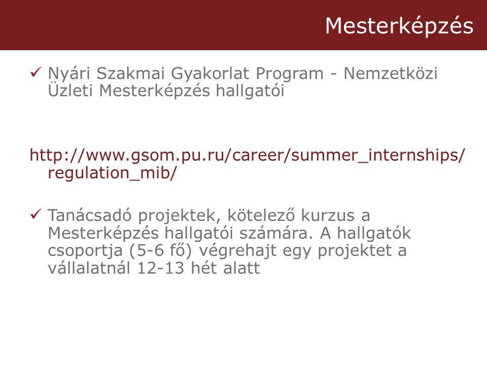 Mesterképzés  Nyári Szakmai Gyakorlat Program - Nemzetközi Üzleti Mesterképzés hallgatói http://www.gsom.pu.ru/career/summer_internships/ regulation_mib/  Tanácsadó projektek, kötelező kurzus a Mesterképzés hallgatói számára.