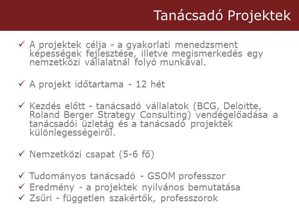 Tanácsadó Projektek  A projektek célja - a gyakorlati menedzsment képességek fejlesztése, illetve megismerkedés egy nemzetközi vállalatnál folyó munkával.