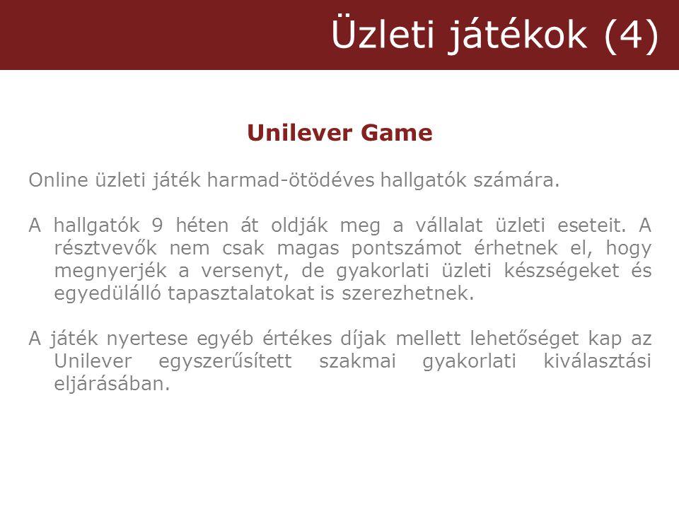 Üzleti játékok (4) Unilever Game Online üzleti játék harmad-ötödéves hallgatók számára.