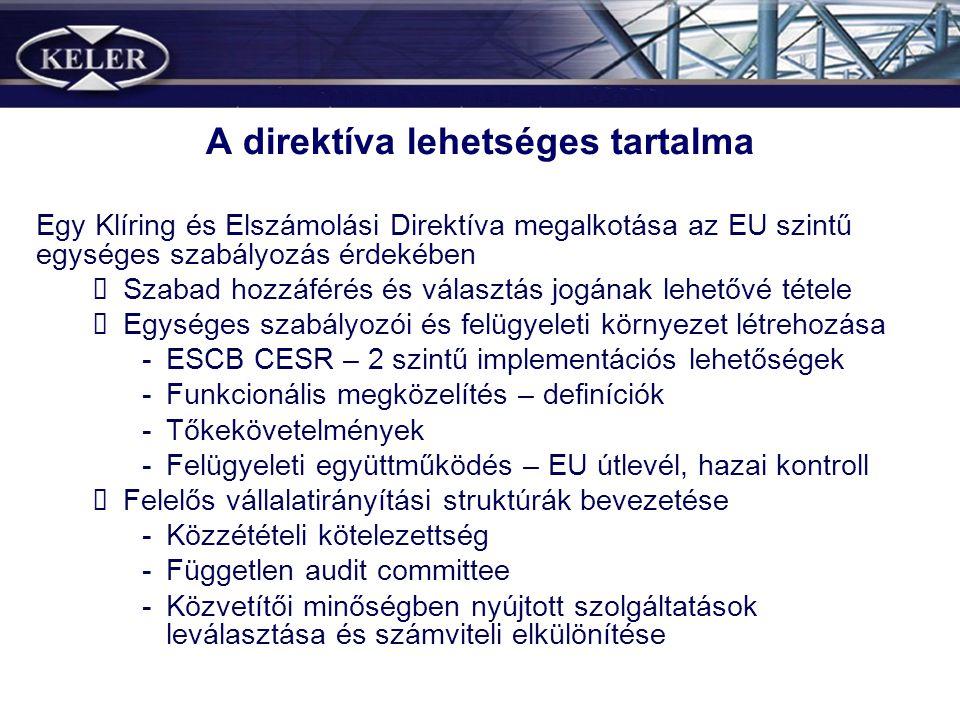 A direktíva lehetséges tartalma Egy Klíring és Elszámolási Direktíva megalkotása az EU szintű egységes szabályozás érdekében Szabad hozzáférés és vála