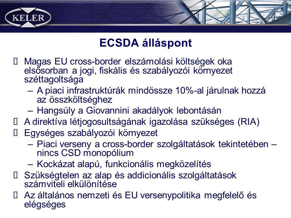 ECSDA álláspont Magas EU cross-border elszámolási költségek oka elsősorban a jogi, fiskális és szabályozói környezet széttagoltsága –A piaci infrastru