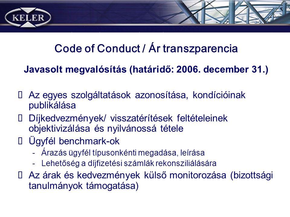 Code of Conduct / Ár transzparencia Javasolt megvalósítás (határidő: 2006. december 31.) Az egyes szolgáltatások azonosítása, kondícióinak publikálása