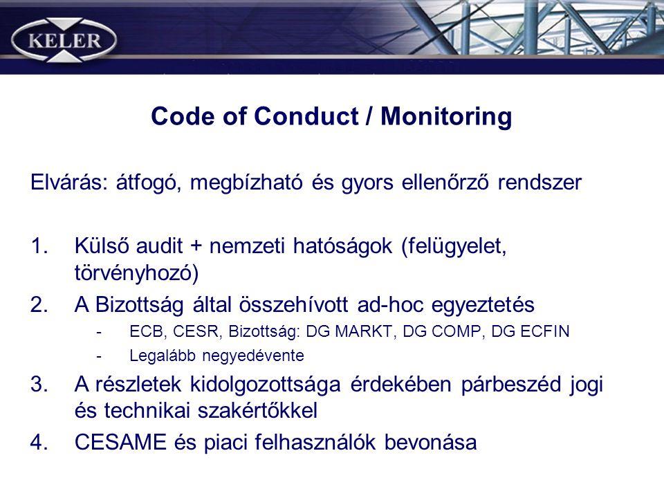 Code of Conduct / Monitoring Elvárás: átfogó, megbízható és gyors ellenőrző rendszer 1.Külső audit + nemzeti hatóságok (felügyelet, törvényhozó) 2.A B