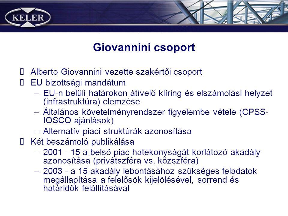 Giovannini csoport Alberto Giovannini vezette szakértői csoport EU bizottsági mandátum –EU-n belüli határokon átívelő klíring és elszámolási helyzet (