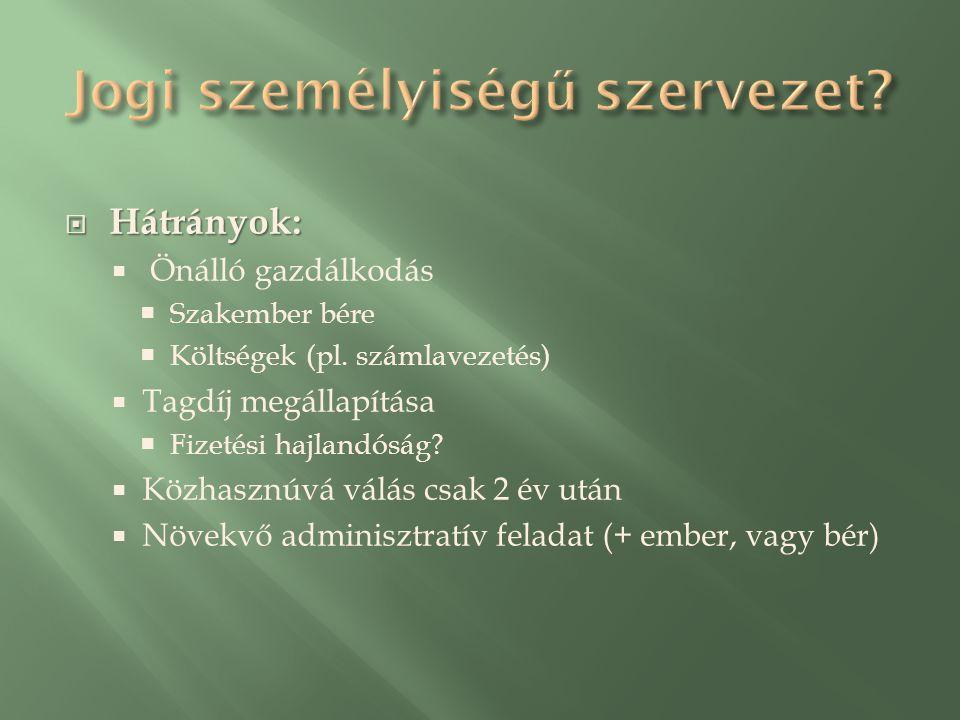  Hátrányok:  Önálló gazdálkodás  Szakember bére  Költségek (pl.