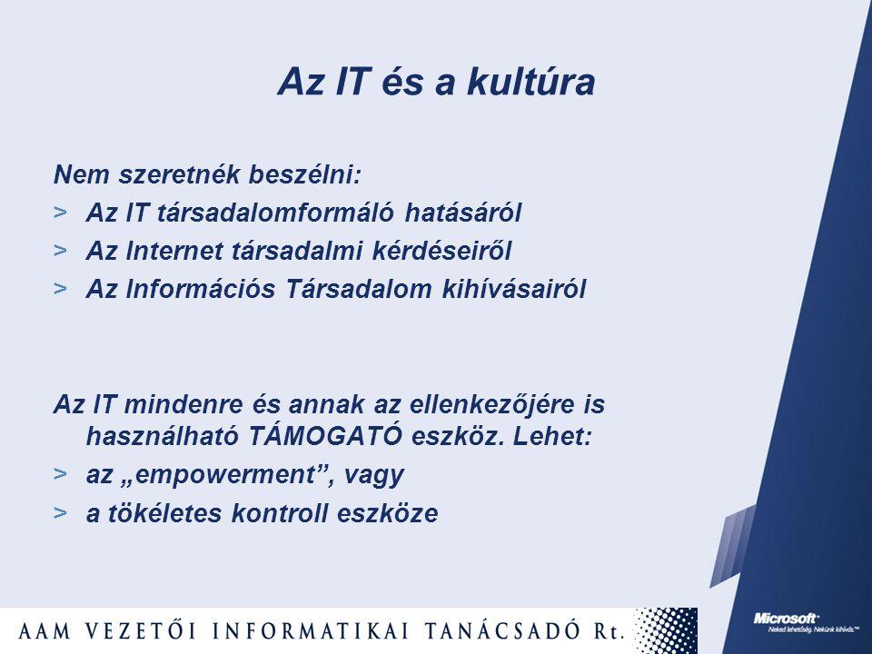 Az IT és a kultúra Nem szeretnék beszélni:  Az IT társadalomformáló hatásáról  Az Internet társadalmi kérdéseiről  Az Információs Társadalom kihívásairól Az IT mindenre és annak az ellenkezőjére is használható TÁMOGATÓ eszköz.
