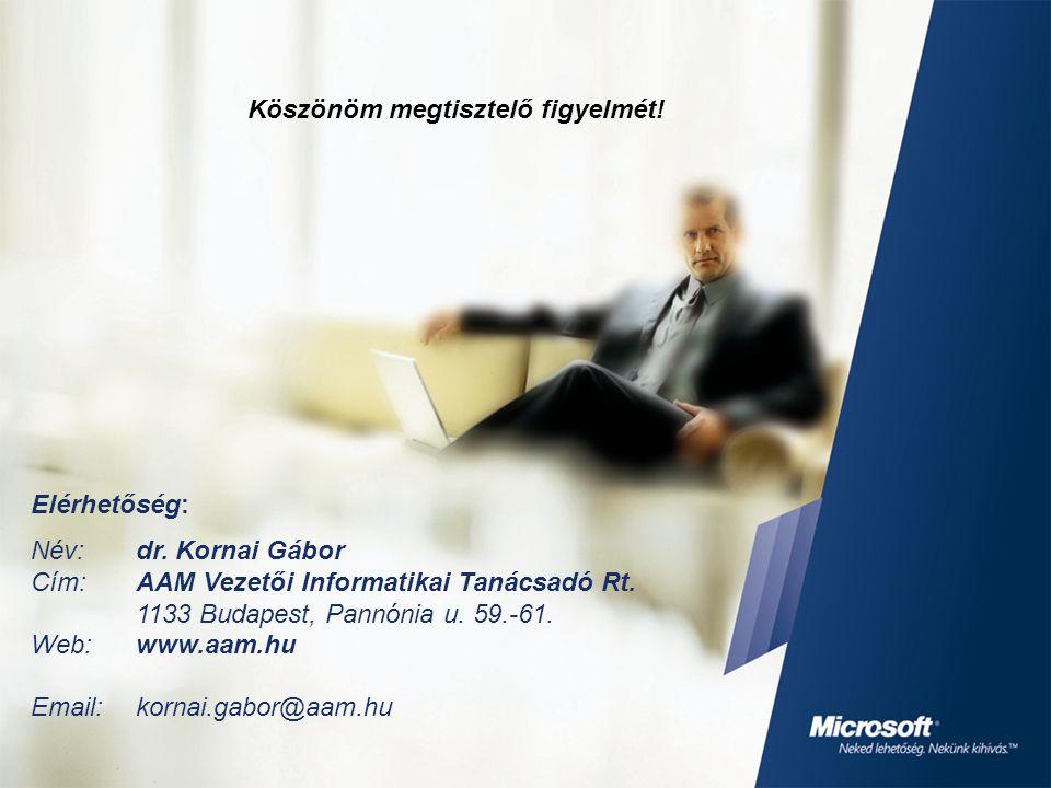 Elérhetőség: Név: dr. Kornai Gábor Cím: AAM Vezetői Informatikai Tanácsadó Rt. 1133 Budapest, Pannónia u. 59.-61. Web:www.aam.hu Email: kornai.gabor@a