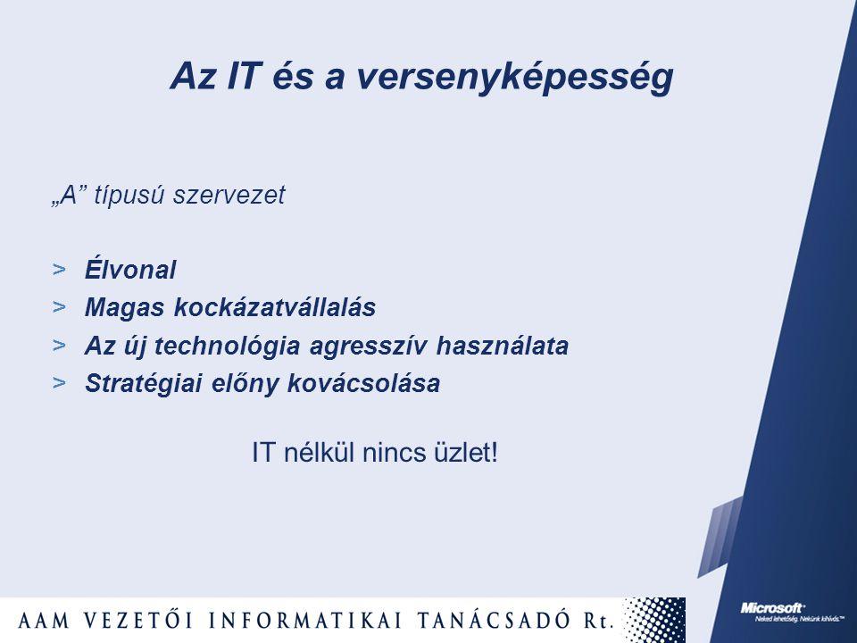 """""""A"""" típusú szervezet  Élvonal  Magas kockázatvállalás  Az új technológia agresszív használata  Stratégiai előny kovácsolása IT nélkül nincs üzlet!"""