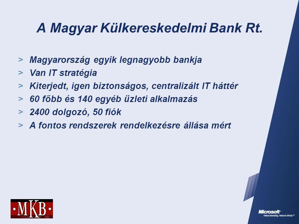 A Magyar Külkereskedelmi Bank Rt.  Magyarország egyik legnagyobb bankja  Van IT stratégia  Kiterjedt, igen biztonságos, centralizált IT háttér  60