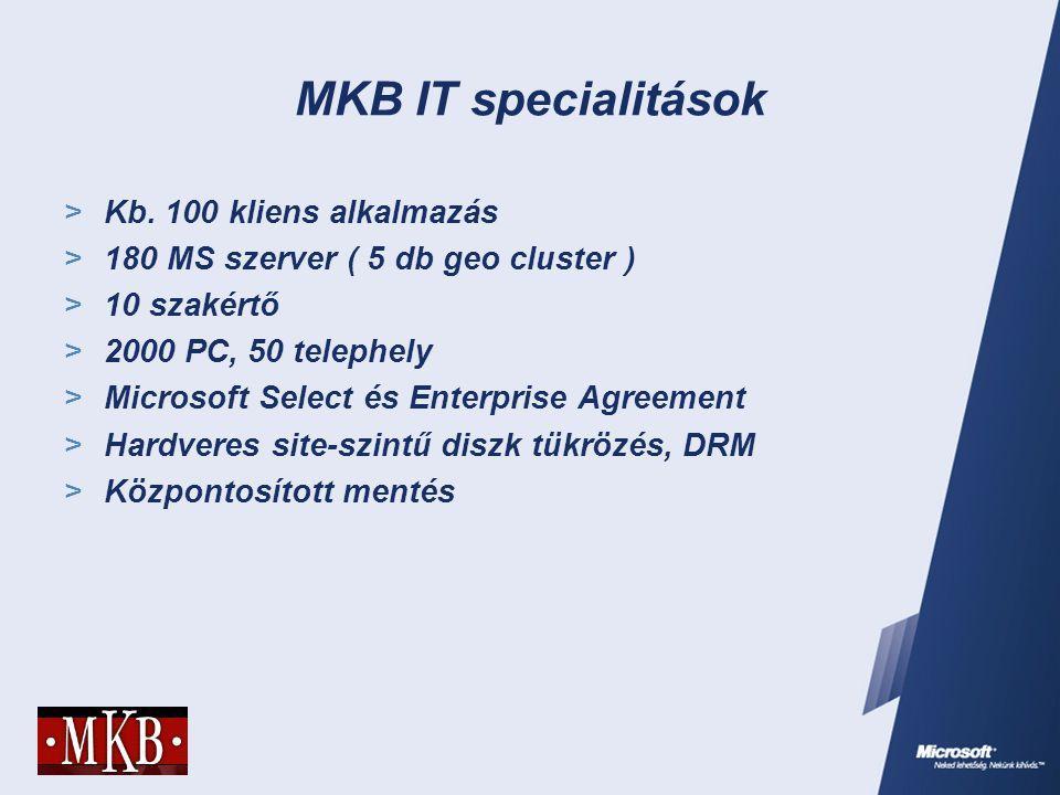 MKB IT specialitások  Kb. 100 kliens alkalmazás  180 MS szerver ( 5 db geo cluster )  10 szakértő  2000 PC, 50 telephely  Microsoft Select és Ent