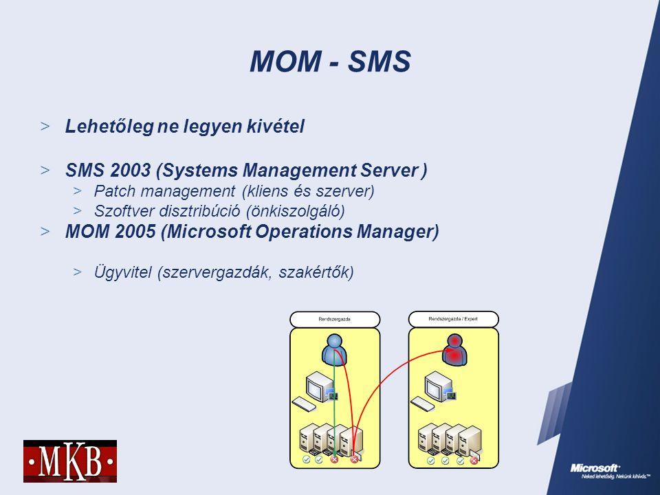 MOM - SMS  Lehetőleg ne legyen kivétel  SMS 2003 (Systems Management Server )  Patch management (kliens és szerver)  Szoftver disztribúció (önkisz