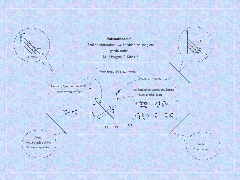 Y P Y S YDYD N f N * ; U U n Y Y p ; I ; i ; G P   Árupiac (IS)és pénzpiac (LM) együttes egyensúlya Munkapiac és árszínvonal YpYp Makroökonómia Szűk