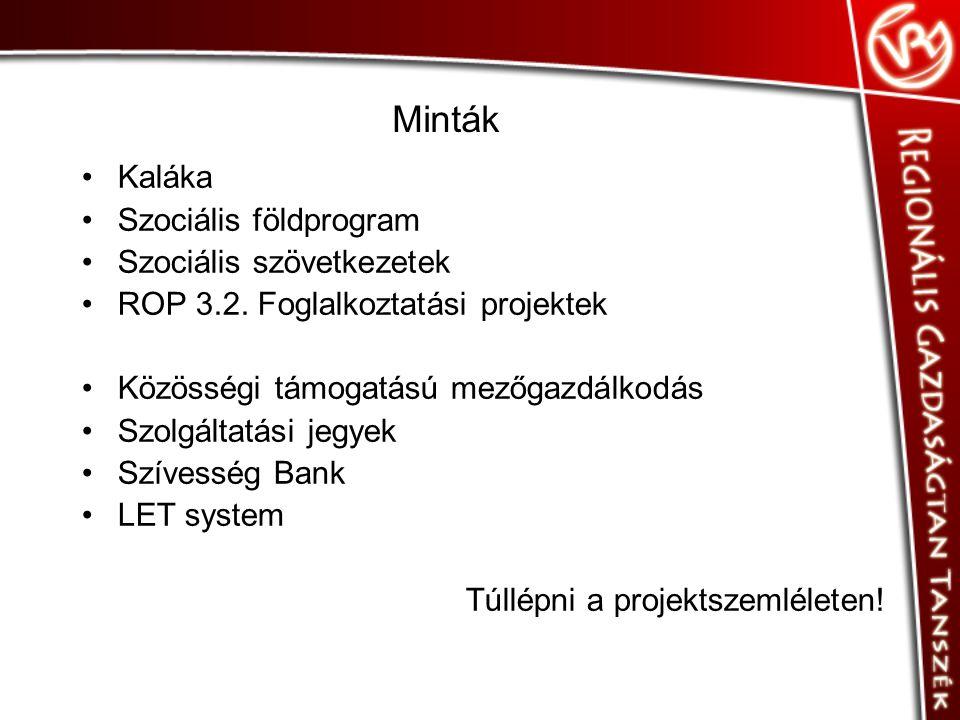 Minták •Kaláka •Szociális földprogram •Szociális szövetkezetek •ROP 3.2.