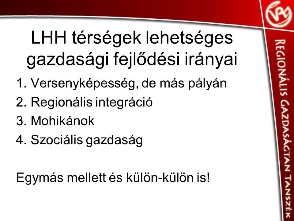 LHH térségek lehetséges gazdasági fejlődési irányai 1.Versenyképesség, de más pályán 2.Regionális integráció 3.Mohikánok 4.Szociális gazdaság Egymás mellett és külön-külön is!