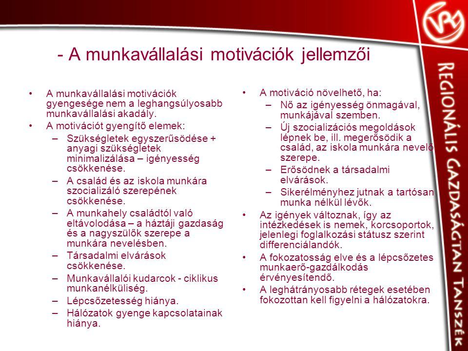 - A munkavállalási motivációk jellemzői •A munkavállalási motivációk gyengesége nem a leghangsúlyosabb munkavállalási akadály.