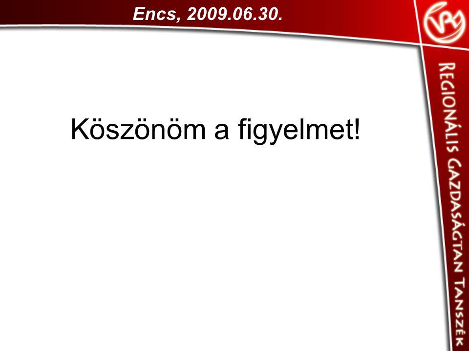 Encs, 2009.06.30. Köszönöm a figyelmet!