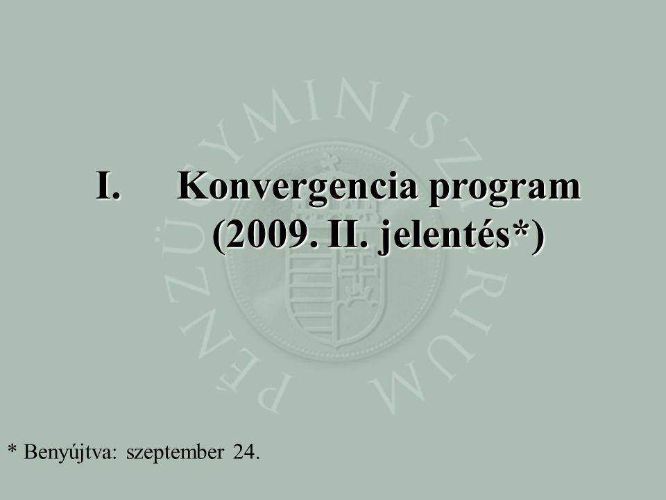 I.Konvergencia program (2009. II. jelentés*) * Benyújtva: szeptember 24.