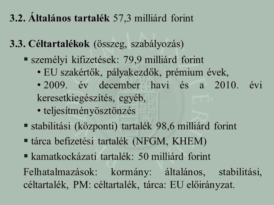 3.2. Általános tartalék 57,3 milliárd forint 3.3. Céltartalékok (összeg, szabályozás)  személyi kifizetések: 79,9 milliárd forint • EU szakértők, pál