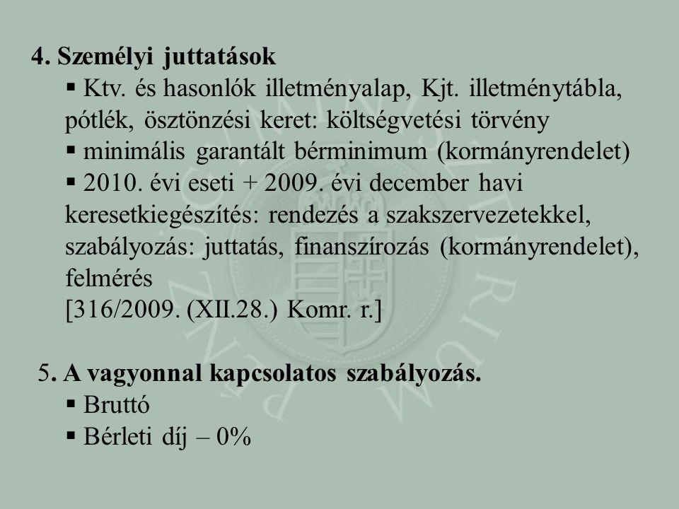4. Személyi juttatások  Ktv. és hasonlók illetményalap, Kjt. illetménytábla, pótlék, ösztönzési keret: költségvetési törvény  minimális garantált bé