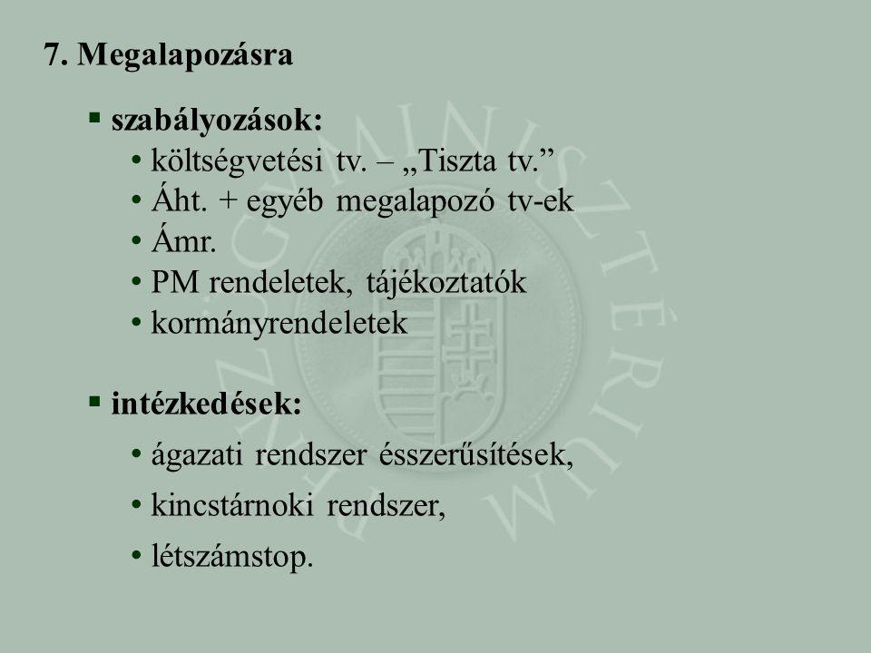 """7. Megalapozásra  szabályozások: • költségvetési tv. – """"Tiszta tv."""" • Áht. + egyéb megalapozó tv-ek • Ámr. • PM rendeletek, tájékoztatók • kormányren"""