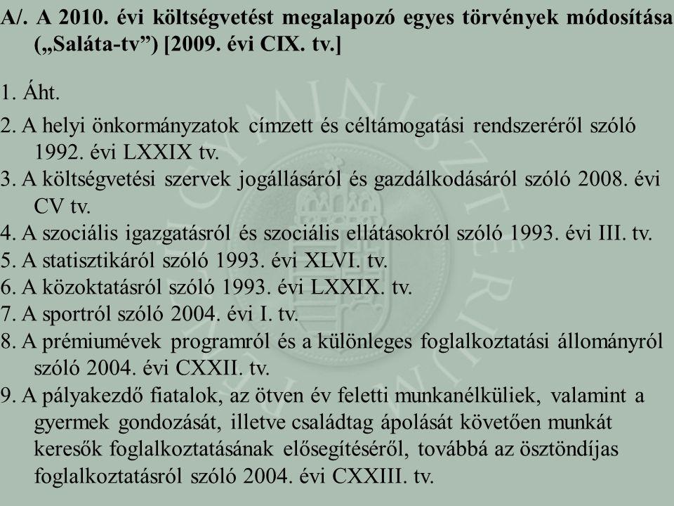 """A/. A 2010. évi költségvetést megalapozó egyes törvények módosítása (""""Saláta-tv"""") [2009. évi CIX. tv.] 1. Áht. 2. A helyi önkormányzatok címzett és cé"""