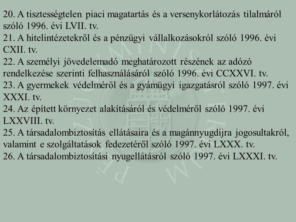 20. A tisztességtelen piaci magatartás és a versenykorlátozás tilalmáról szóló 1996. évi LVII. tv. 21. A hitelintézetekről és a pénzügyi vállalkozások