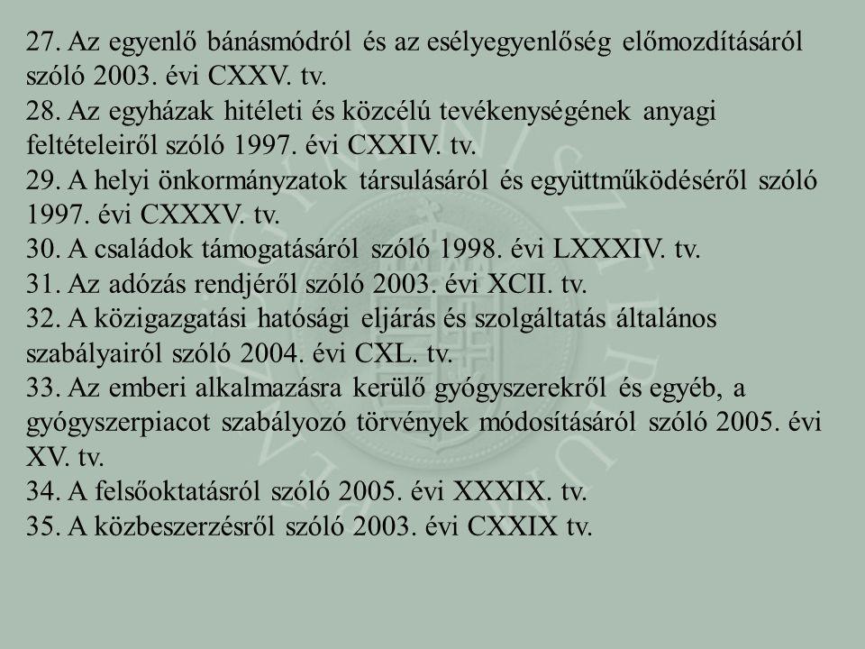 27. Az egyenlő bánásmódról és az esélyegyenlőség előmozdításáról szóló 2003. évi CXXV. tv. 28. Az egyházak hitéleti és közcélú tevékenységének anyagi