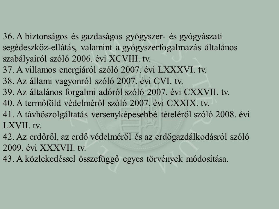 36. A biztonságos és gazdaságos gyógyszer- és gyógyászati segédeszköz-ellátás, valamint a gyógyszerfogalmazás általános szabályairól szóló 2006. évi X