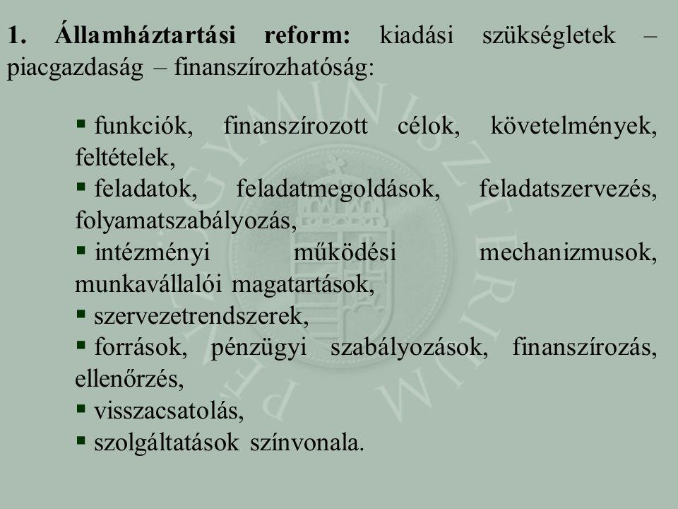 1. Államháztartási reform: kiadási szükségletek – piacgazdaság – finanszírozhatóság:  funkciók, finanszírozott célok, követelmények, feltételek,  fe