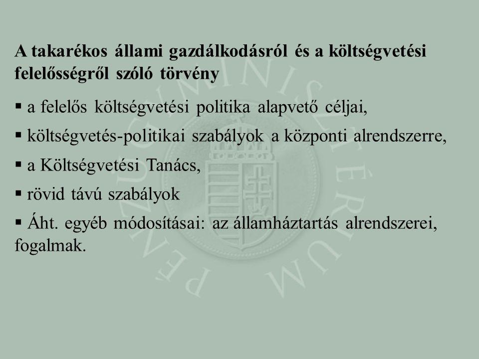 A takarékos állami gazdálkodásról és a költségvetési felelősségről szóló törvény  a felelős költségvetési politika alapvető céljai,  költségvetés-po