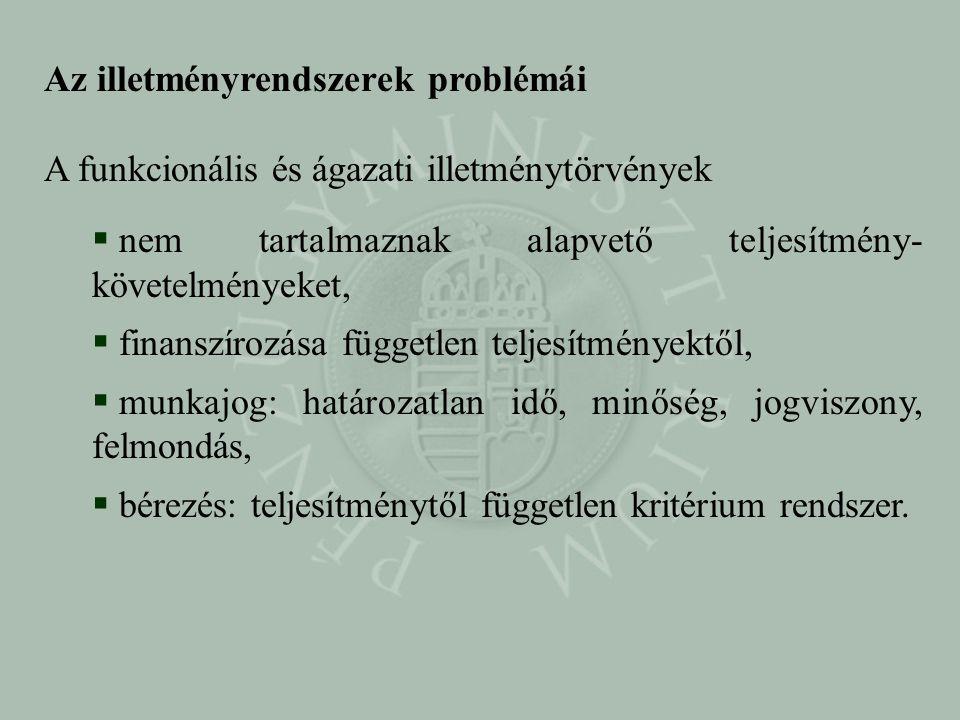Az illetményrendszerek problémái A funkcionális és ágazati illetménytörvények  nem tartalmaznak alapvető teljesítmény- követelményeket,  finanszíroz