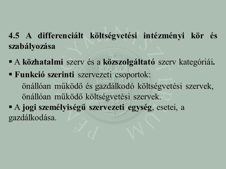4.5 A differenciált költségvetési intézményi kör és szabályozása  A közhatalmi szerv és a közszolgáltató szerv kategóriái.  Funkció szerinti szervez