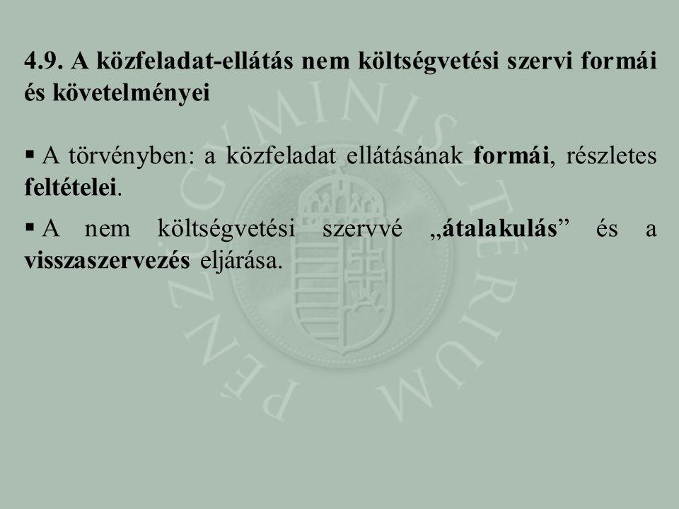 4.9. A közfeladat-ellátás nem költségvetési szervi formái és követelményei  A törvényben: a közfeladat ellátásának formái, részletes feltételei.  A