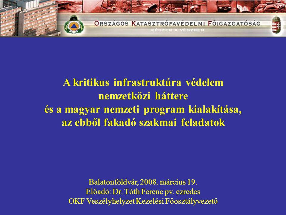 A kritikus infrastruktúra védelem nemzetközi háttere és a magyar nemzeti program kialakítása, az ebből fakadó szakmai feladatok Balatonföldvár, 2008.