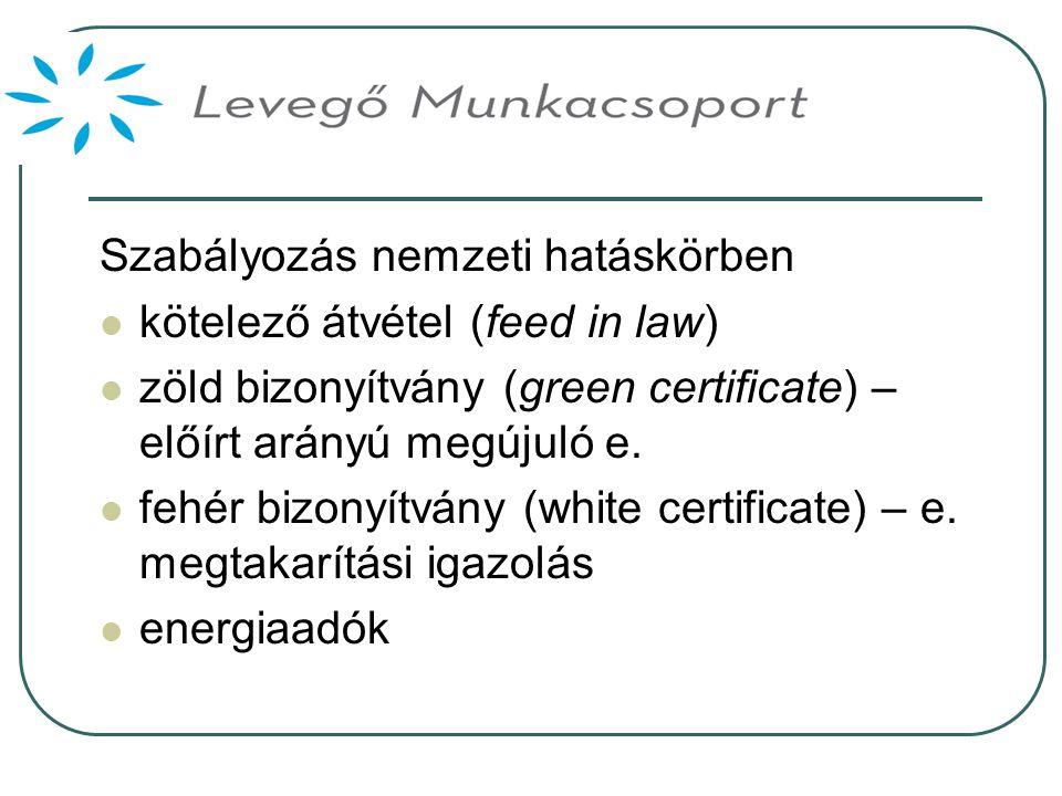 Szabályozás nemzeti hatáskörben  kötelező átvétel (feed in law)  zöld bizonyítvány (green certificate) – előírt arányú megújuló e.