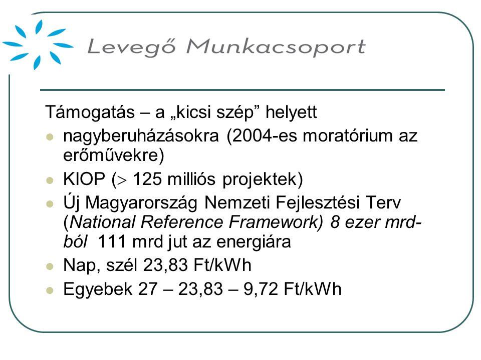 """Támogatás – a """"kicsi szép helyett  nagyberuházásokra (2004-es moratórium az erőművekre)  KIOP (  125 milliós projektek)  Új Magyarország Nemzeti Fejlesztési Terv (National Reference Framework) 8 ezer mrd- ból 111 mrd jut az energiára  Nap, szél 23,83 Ft/kWh  Egyebek 27 – 23,83 – 9,72 Ft/kWh"""