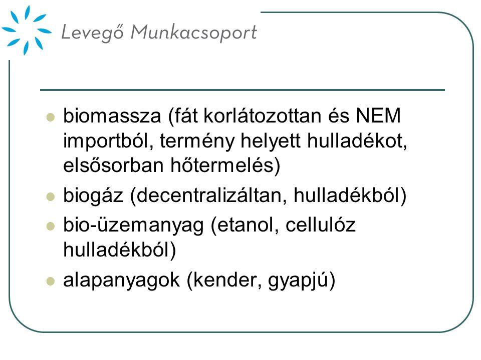  biomassza (fát korlátozottan és NEM importból, termény helyett hulladékot, elsősorban hőtermelés)  biogáz (decentralizáltan, hulladékból)  bio-üzemanyag (etanol, cellulóz hulladékból)  alapanyagok (kender, gyapjú)