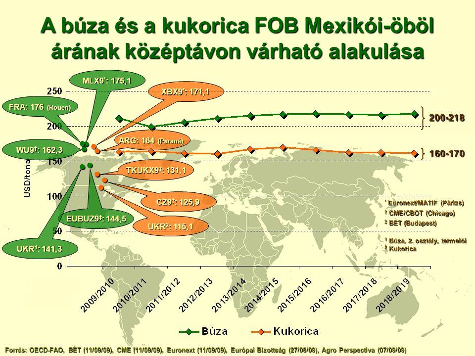 A repce középtávú piaci kilátásai Globális termelés 2018/2019-ig 12%-kal nő (2008/2009: 58,3 mt) (2009/2010: 56,5 mt) Forrás: OilWorld, FAPRI ■ GM repce részesedése a vetésterületből (2008) a vetésterületből (2008) 2009/2010: 20,3 mt