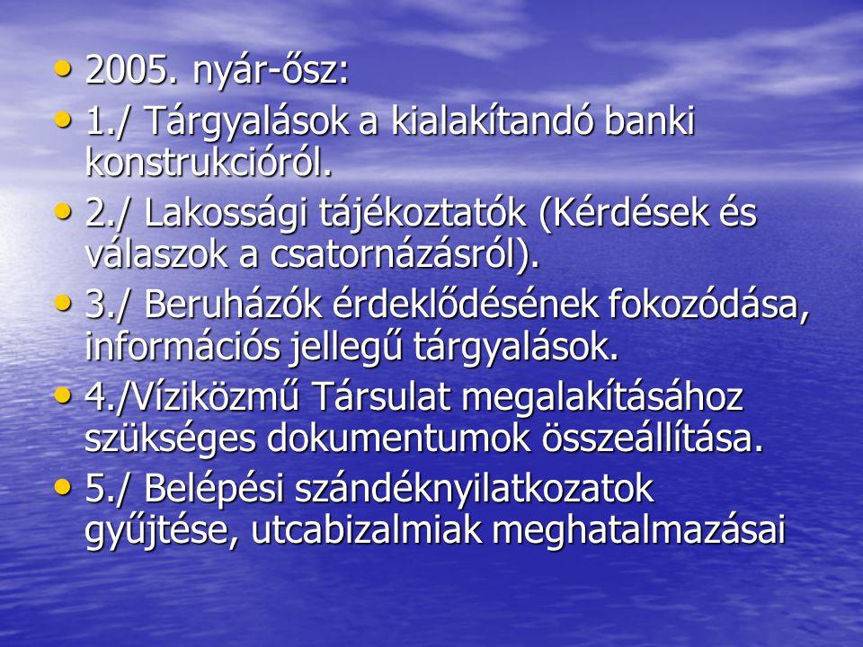• 2005. nyár-ősz: • 1./ Tárgyalások a kialakítandó banki konstrukcióról. • 2./ Lakossági tájékoztatók (Kérdések és válaszok a csatornázásról). • 3./ B