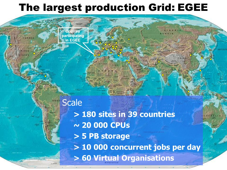 The largest production Grid: EGEE Scale > 180 sites in 39 countries ~ 20 000 CPUs > 5 PB storage > 10 000 concurrent jobs per day > 60 Virtual Organisations Country participating in EGEE