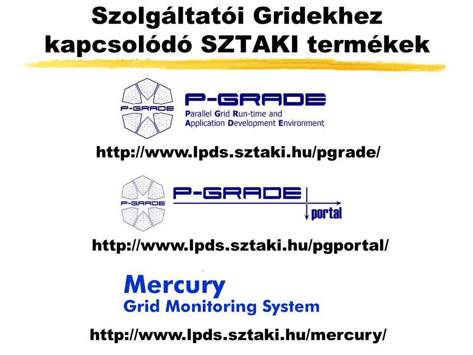 Szolgáltatói Gridekhez kapcsolódó SZTAKI termékek http://www.lpds.sztaki.hu/pgrade/ http://www.lpds.sztaki.hu/pgportal/ http://www.lpds.sztaki.hu/mercury/