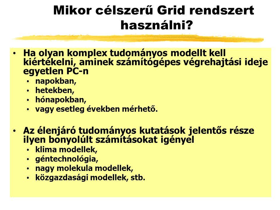 SZTAKI Desktop Grid globális verzió NIIF Supercomputer: 300 GFlops NIIF ClusterGrid: 500 GFlops OMSZ Supercomputer: 900 GFlops TOP 500 entry performance:1645 GFlops